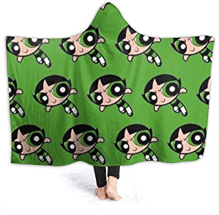The Powerpuff Girls Buttercup Oversized Hooded Blanket Flannel Super Soft Cape Wrap Wearable Cuddle Multi Size Optional