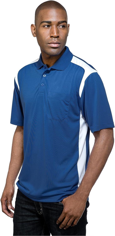 Tri-Mountain Performance Men's K145P Blitz Pocket S/S Polo Shirt (2X-Large, Royal/White)