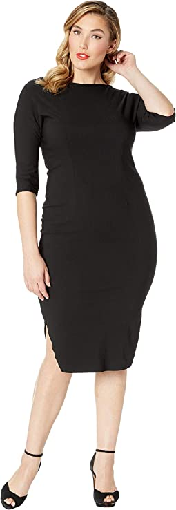 Plus Size 1940s Style Stretch Sleeved Adelia Wiggle Dress