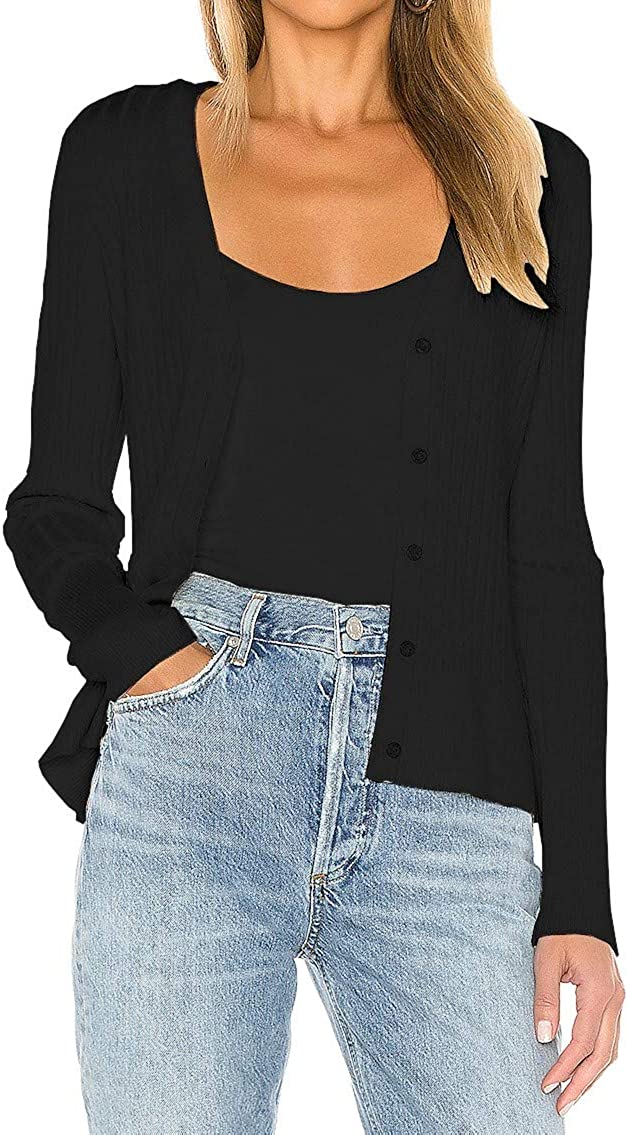 CMZ2005 Women's Long Sleeve Button Down Knit Cardigan Vee Neck Ribbed Classic Sweater Top 7088
