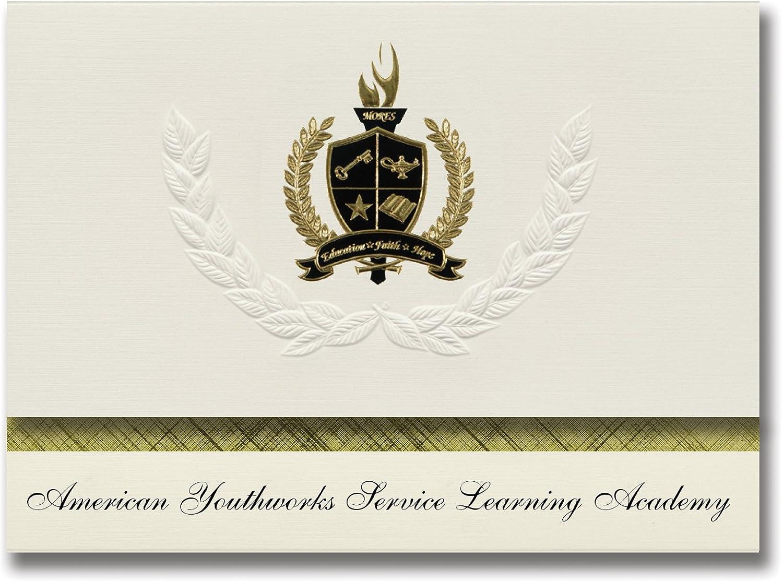 Signature Ankündigungen American youthworks Service Learning Academy (Austin, TX) Graduation Ankündigungen, Presidential Elite Pack 25 W Gold & Schwarz Folie Dichtung B078VD4TY8   | Haltbarer Service