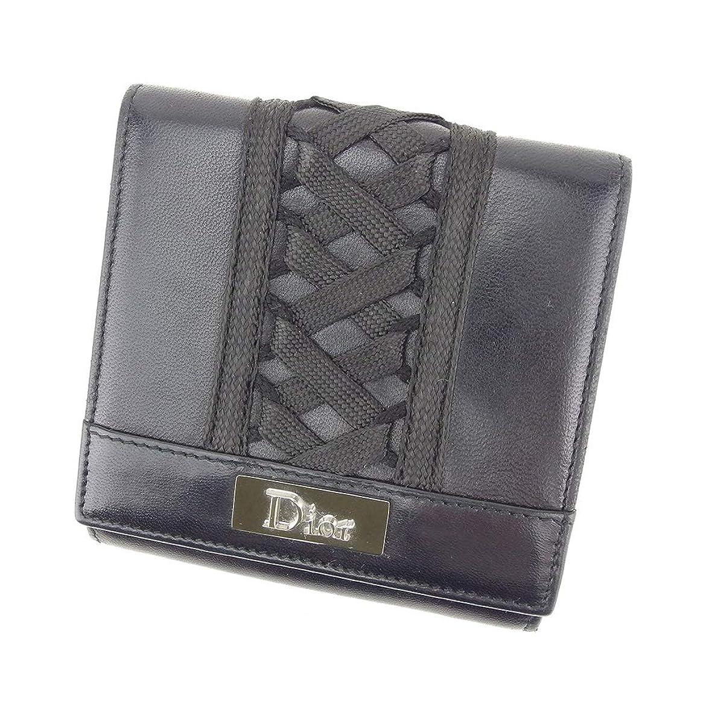 近々心配するリム(ディオール) Dior Wホック 財布 二つ折り レディース レースアップ 中古 T8725