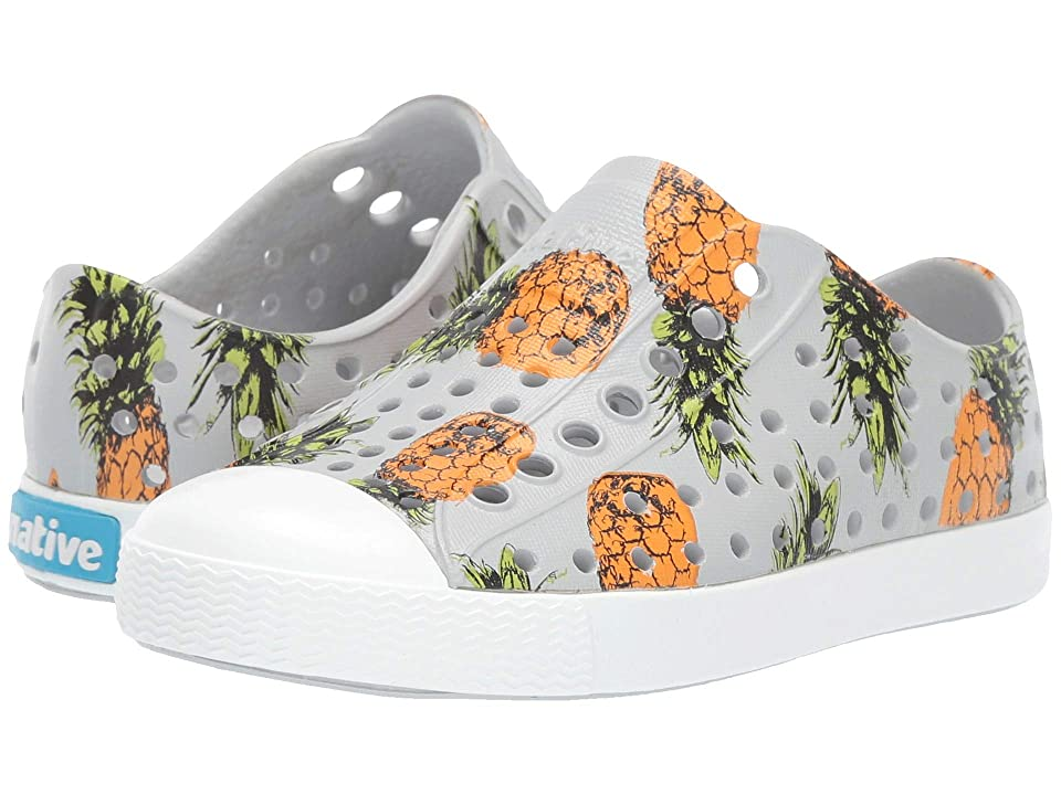 Native Kids Shoes Jefferson Print (Toddler/Little Kid) (Mist Grey/Shell White/Pineapple) Kids Shoes