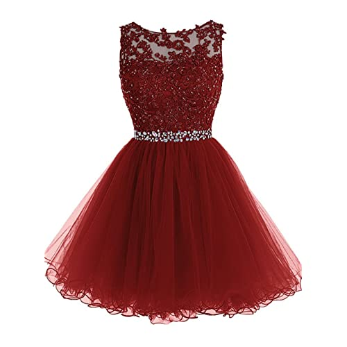 65be5fd444 WDING Short Tulle Homecoming Dresses Appliques Beads Prom Party Gowns