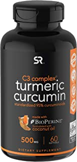 Turmeric Curcumin C3® Complex (500mg) Enhanced with Black Pepper & Organic Coconut Oil for Better Absorption; Non-GMO & Gl...