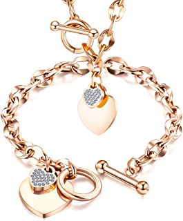 CHIFEI Stainless Steel Link Chain Bracelet Pendant Heart Necklace Toggle Clasp Gift for Women Girl