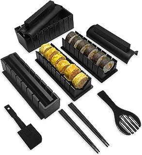 Sushi Making Kit, YiiMO 12pcs Roll Maker Set Food-Grade Plastic Tool, 4 Molds and Fork Spatula Chopsticks for Home DIY Beg...