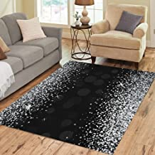 Semtomn Area Rug 5' X 7' Star Shiny Silver on Diamond Glam Scatter Sparkle Particle Home Decor Collection Floor Rugs Carpet for Living Room Bedroom Dining Room