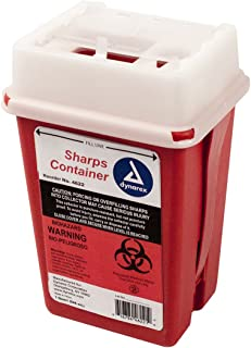 Dynarex Sharps Container - Biohazard Phlebotomy Needle Disposable - Puncture Resistant - One Handed Use - 1 Quart