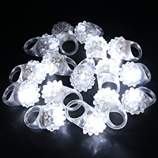 LACGO Flashing Bumpy Rings, Novelty Party Favor Cold White LEDs Soft Rubber Ring, Soft Rubber Clear Ring White LED Flashing Jelly Bumpy Rings for Bar, Party, Night, One Size Fits All(Pack of 12)