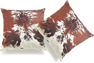 "Best Hofdeco Southwestern Cowhide Print Pillow Cover ONLY, Brown White, 18""x18"", Set of 2 Reviews"