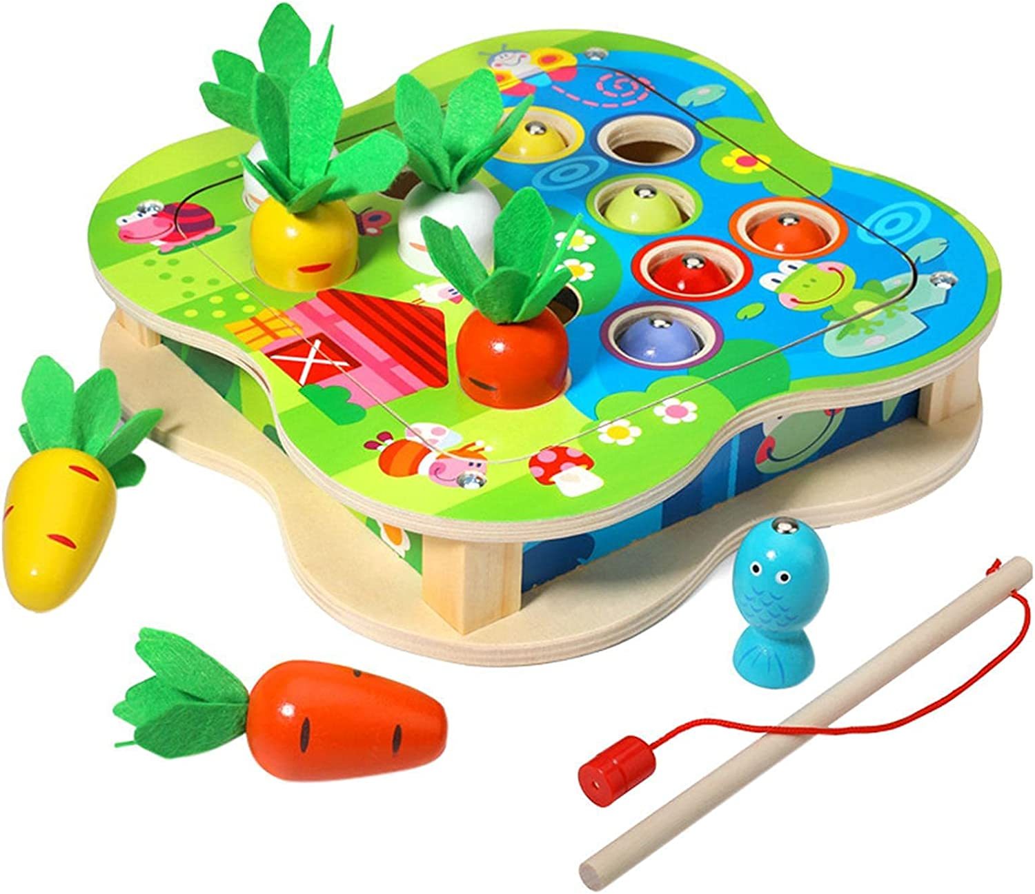 TYUIJK Carrot Fishing Toy Wooden Columbus Mall Some reservation 2-in-1 Ma Childrens Educational