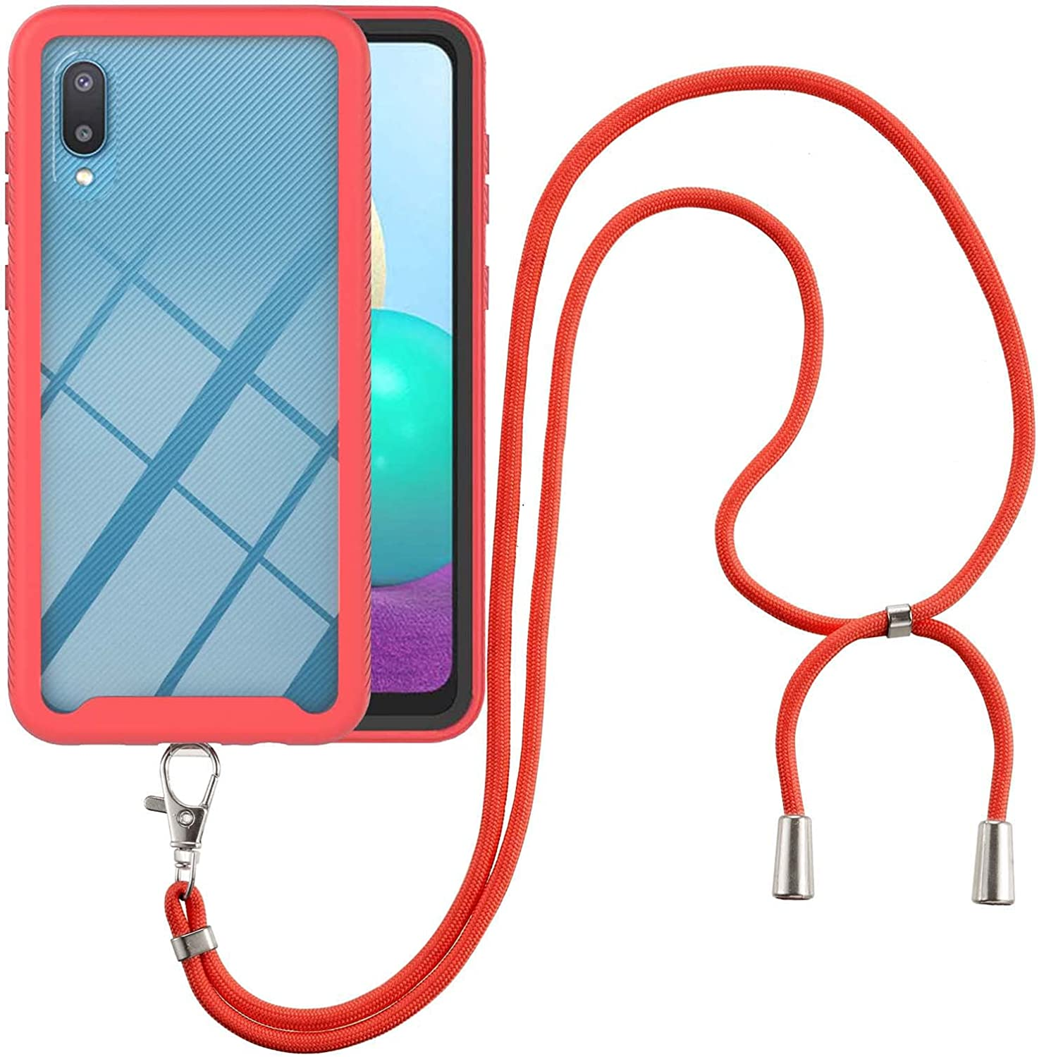 Samsung A02 Case, EabHulie Transparent Back No-Slip Bumper with Adjustable Crossbody Lanyard Strap Case, Shockproof Full Body Protection Cover for Samsung Galaxy A02 Red