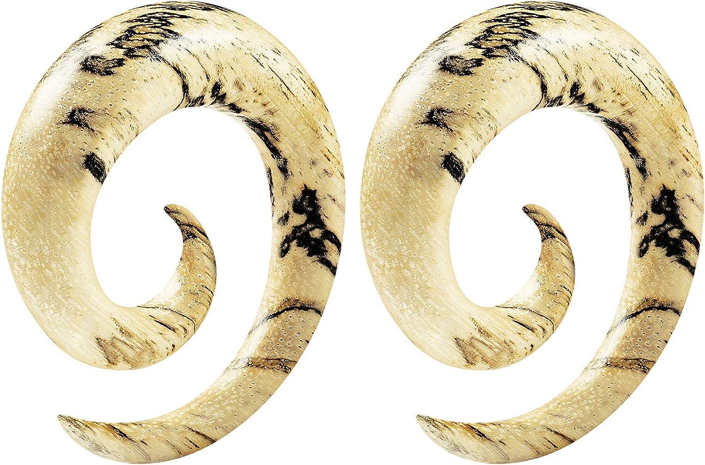 BIG GAUGES Pair of Tamarind Wood Spiral Coil Taper Piercing Jewelry Ear Plugs Stretching Expander Earring Lobe