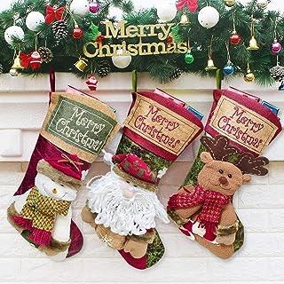 KDBWYC Medias navideñas de 3 Piezas Botas de Fieltro de Papá Noel para llenar Santa Claus muñeco de Nieve Reno Colgante de calcetín de Navidad