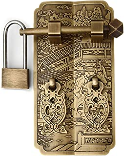 Tiazza Chinese Vintage Style Antique Brass Pull Handle Knobs with Padlock Drawer Cabinet Bookcase Wardrobe Straight Plate Handle Classical Furniture Hardware Copper Accessories