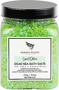 Tea Tree Foot Soak Aromatherapy Bath Salts - Made in UK (450g) Natural Dead Sea Salts for Women, Men, Girls and Kids. Luxury Detox with Tea Tree Essential Oils