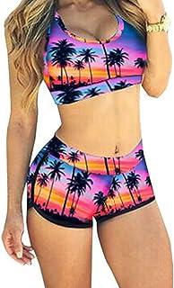 QingLemon Women Two Piece Boyleg Short Swimsuits Sporty Bathing Swimwear(FBA)