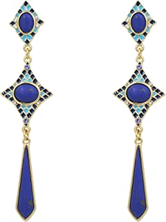 Blue Long Dangle Drop Earrings for Women Girls, Fashion Jewelry with synthetic stone earring for halloween party daily dating mom sister gifts
