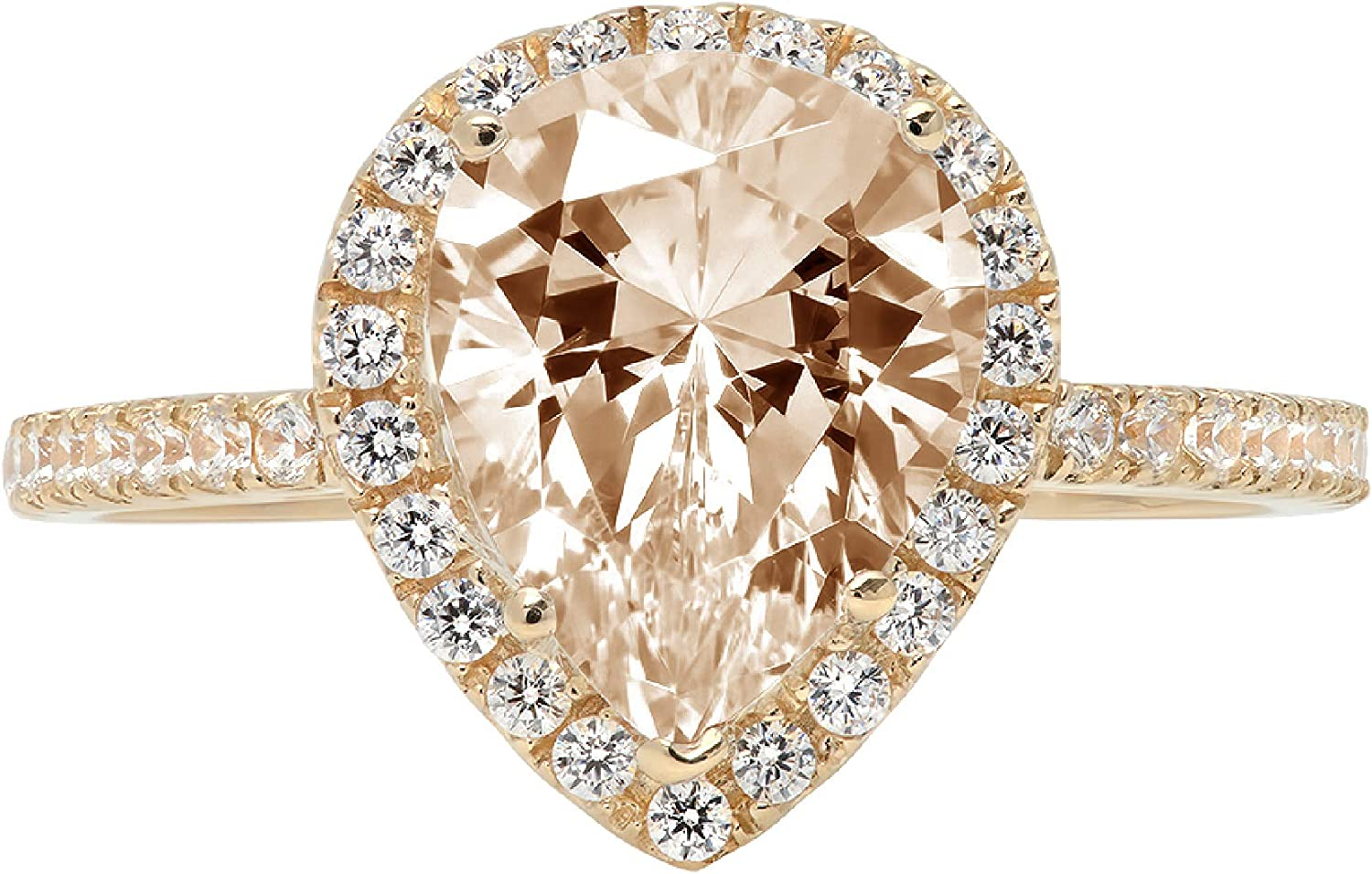 2.39ct Brilliant Pear Cut Solitaire with Accent Halo Brown Champagne Ideal VVS1 Simulated Diamond CZ Engagement Promise Statement Anniversary Bridal Wedding Ring 14k Yellow Gold