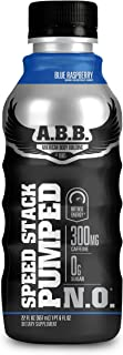 ABB Speed Stack Pumped N.O. Energy Drink, Pre Workout, Nitric Oxide, Arginine and Glycerol for Pumps, Flavor: Blue Raspberry, 22 Ounce Bottles, 12 Count