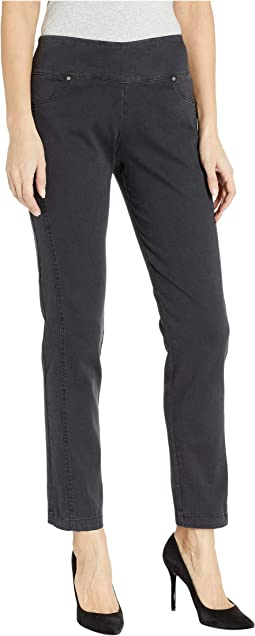 Stretch Denim Pull-On Pants with Faux Pocket & Forward Seam Detail in Carbon