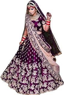 Vetrokart Women's Embroidered Taffeta Satin Lehenga Choli with Blouse Piece (Purple,Free Size)