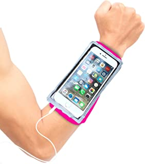 Phone Band for Running - iPhone 11 Pro Armband - Running Case - iPhone Xs X 8 7, Galaxy S10 S9 Android – Zip Pocket Key Holder - Touch Screen - Earphone Access – Wristband Stretches to Fit Forearm