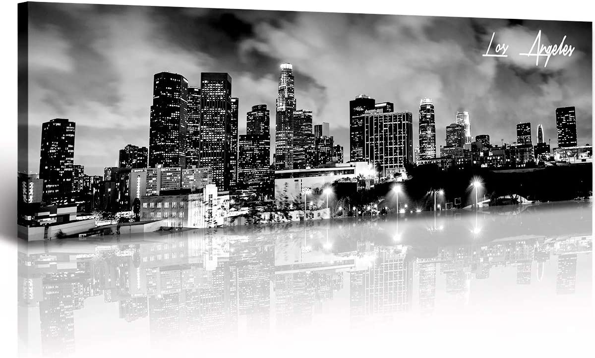 Canvas Wall Art - Black and Outlet ☆ Free Shipping Now free shipping Panoramic Skyline Los Ang White