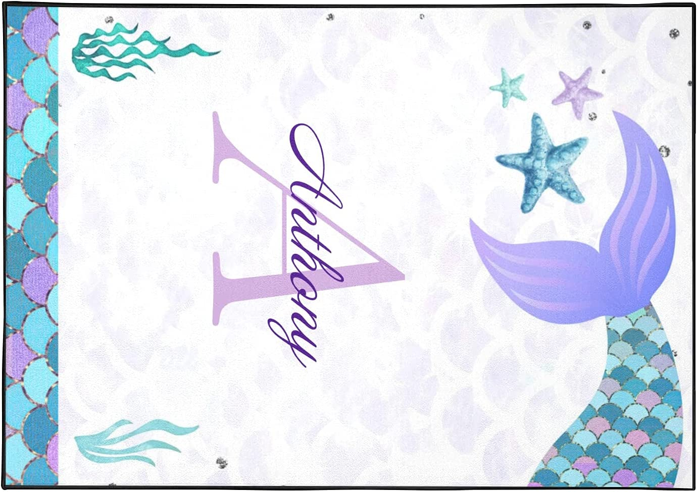 Personalized Award-winning store Mermaid Sea-Weed 5.2'x7.5' Non-Slip with Over item handling Rug N Area