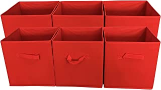 SodyneeFoldable Cloth Storage Cube Basket Bins Organizer Containers Drawers, 6 Pack, Red