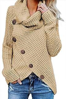 Asvivid Women's Chunky Button Turtle Cowl Neck Asymmetric Hem Wrap Pullover Sweater