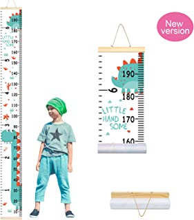 PASHOP Kids Animal Dinosaur Growth Chart Baby Roll-up Wood Frame Canvas Fabric Removable Height Growth Chart Wall Art Hanging Ruler Wall Decor for Nursery Bedroom 79 x 7.9 Inch (Dinosaur)