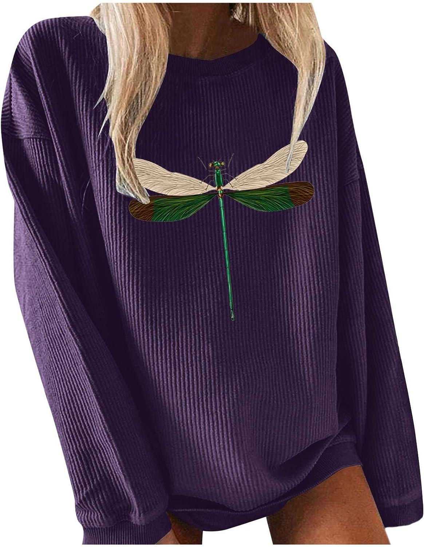 Women's Sweater Fashion Casual Applique Printed Crewneck Knit Long Sleeve Pullover Sweatshirt Plus Size T-Shirt Blouses