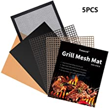Tosuced BBQ Grill Mesh Mat Set of 5 - Non-Stick Premium Grill Cooking Mat, Reusable, and Easy to Clean Barbecue Grilling Accessories for Smoker, Pellet, Gas, Charcoal Grill etc (15.75 x 13 Inch)