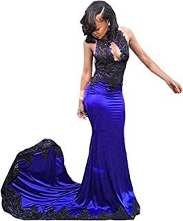 Jonlyc Women's Mermaid High Neck Lace Appliques Prom Bridesmaid Dresses Long Evening Gowns