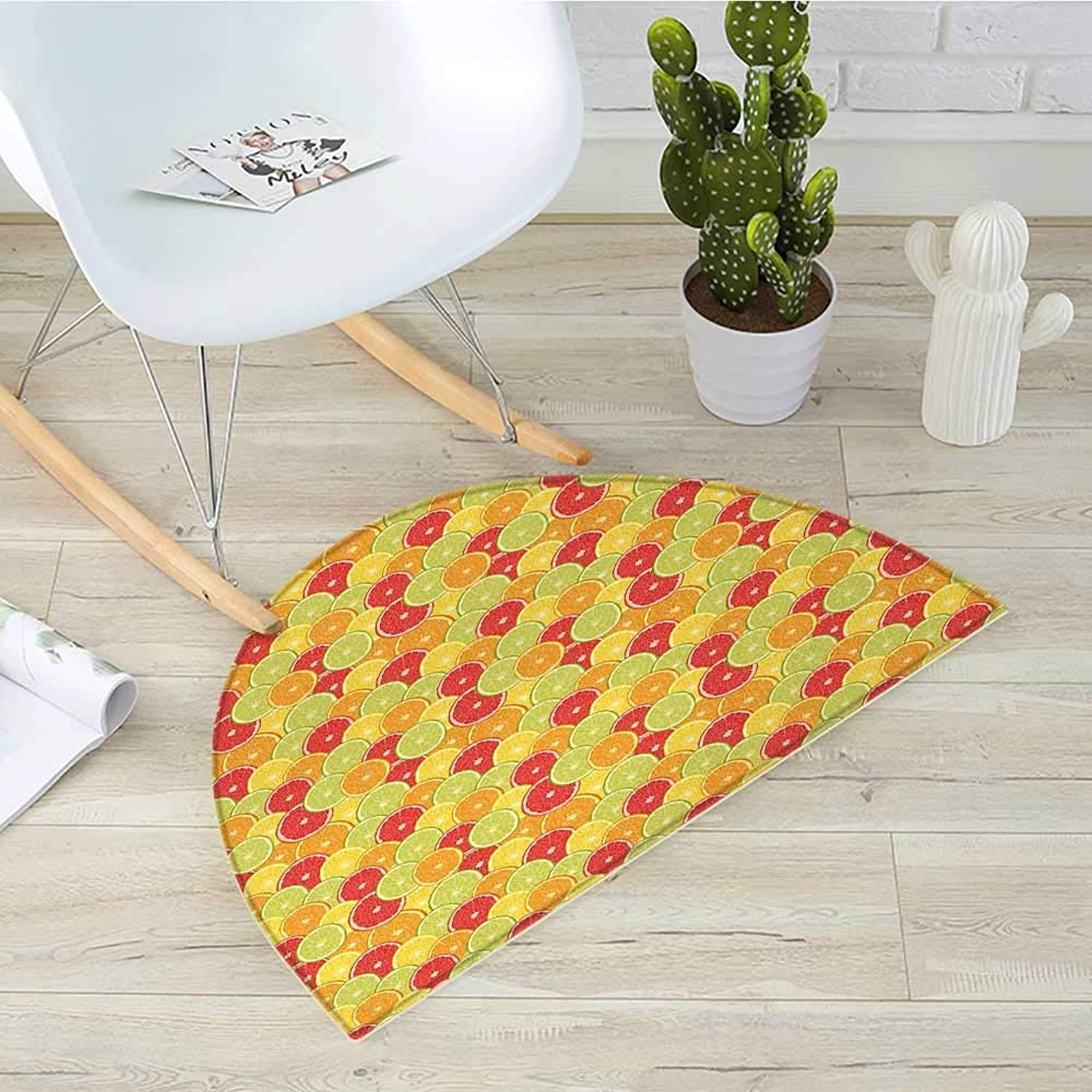 colorful Semicircular CushionFresh Ripe Citrus Fruits orange Grapefruit and Lemon Repeating Circular Pattern Entry Door Mat H 35.4  xD 53.1  Multicolor