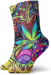 yting, Psychedelic Multi Color Marijuana Leaf Weed Art Calcetines acolchados para niños y niñas, calcetines deportivos, calcetines de compresión