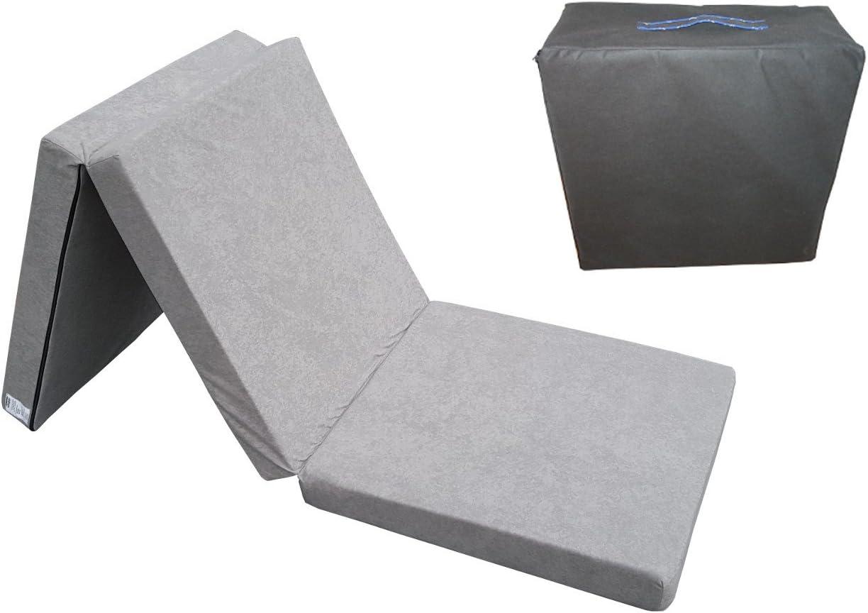 Natalia Spzoo El sillón de colchón Plegable para Invitados 180x80x10 cm con el Bolso (Gris 1008)