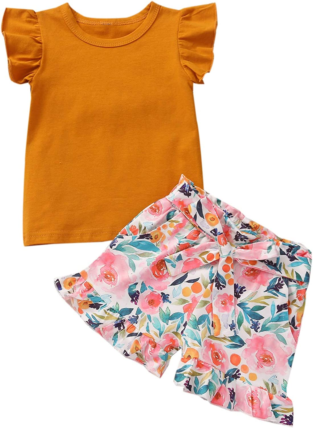 Toddler Baby Girl Outfits Solid Ruffle Sleeve Shirt top Floral Short Pants Girls Summer Clothes