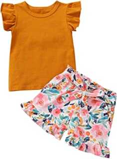 Toddler Baby Girl Summer Clothes Ruffle Sleeve Floral Short Pants 2Pcs Infant Girl Outfits