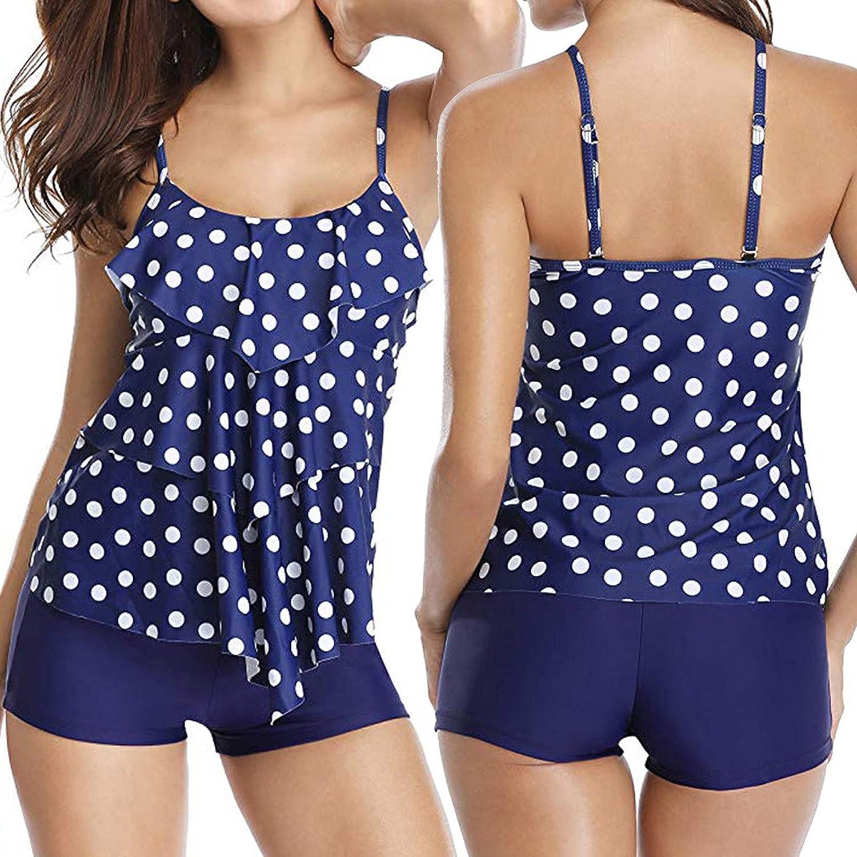hnmkiu Women Fashion 2 Piece Flounce Printed Top with Boyshorts Tankini Swimwear Bikini Set