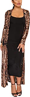 Womens Cover Up Long Sleeve See Through Sequins Open Front Cardigan Coat Dress