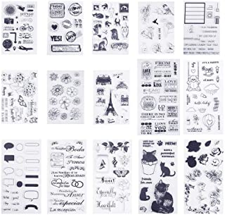 PH PandaHall 15 Sheets Silicone Clear Stamps Seal for Cards Making DIY Scrapbooking Photo Card Album Decoration(Flower, Cat, Dog, Clover, Travel)