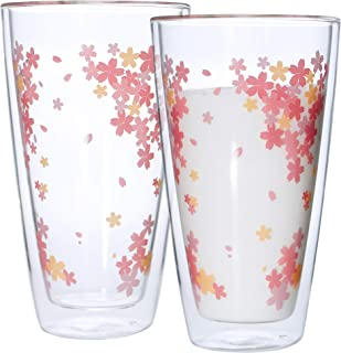 Double Wall Glass Insulated Mugs Cherry Blossom Cups,Thermo Glass Tumbler Highball Glass,Suit for Cool Beverages,Beer,Iced ,Tea,Lemonade,Hot drink,Dishwasher Safe,12oz 350ml,Set of 2
