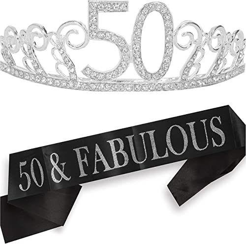 50th Birthday Gifts for Women, 50th Birthday Tiara and Sash, Happy 50th Birthday Party Supplies, 50 & Fabulous Sash a...