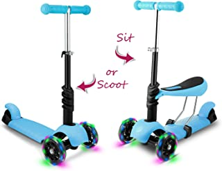 Hikole Scooter for Kids, Kick Scooters with Folding/Removable Seat, Scooter for Toddlers Girls & Boys, 3 Levels Height and 3 PU Flashing Wheels, Design for Children 2-8 Years Old