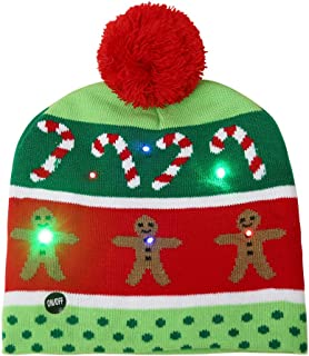 FADA LED Light-up Knitted Ugly Sweater Holiday Xmas Christmas Beanie - 3 Flashing Modes