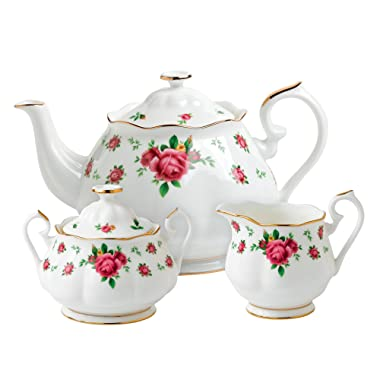Royal Albert New Country Roses 3-Piece Tea Set, Mostly White with Multicolored Floral Print