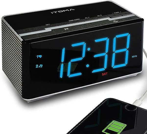 ITOMA Electronic Alarm Clock Radio Bluetooth Stereo Speakers FM Radio Dual Alarm Snooze Brightness Dimmer USB Charging Port Backup Battery CKS3501